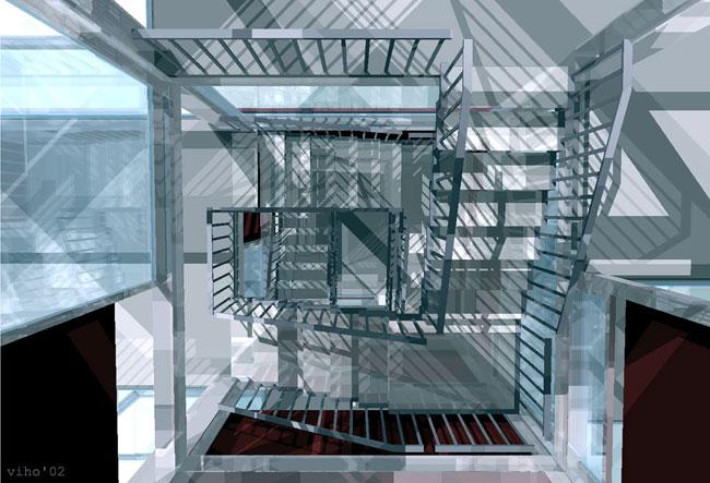 Diese perspektive des innenraumes zeigt das treppenhaus welches sich